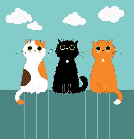 Three kittys on fence 일러스트