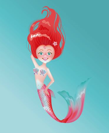 Cute longhaired mermaid