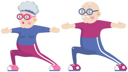 Funny cartoon grandma and grandpa doing sport