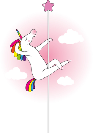 Mythical funny creature unicorn as pole dancer Illustration