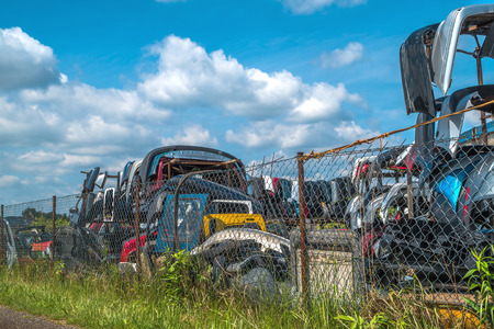 salvage yards: dump old cars and sell used parts for cars Stock Photo