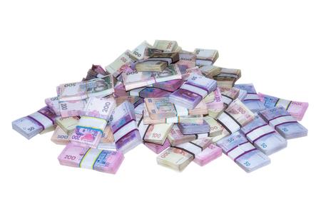 money packs: big pile of money packs Ukrainian Stock Photo
