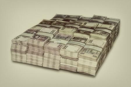 money packs: Ukrainian packs a lot of money the stacked vintage