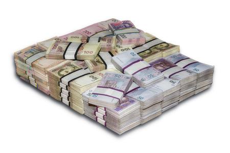money packs: Ukrainian packs a lot of money the stacked Stock Photo