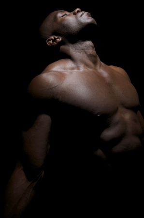 African american body builder posing Stock Photo