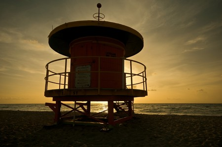 Lifeguard shelter at sunrise in Miami Beach, Florida, USA. photo