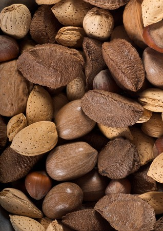 Background of almonds, nuts, hazelnuts, and pecans taken with a macro lens.