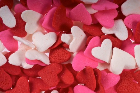 Close up of Red Heart Sprinkles used for cake decorations and other foods in Saint Valentine Stock fotó