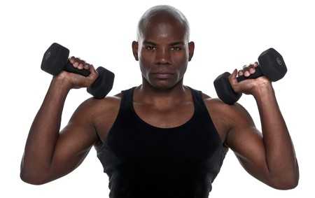 Handsome  Body Builder African American doing excersice. photo
