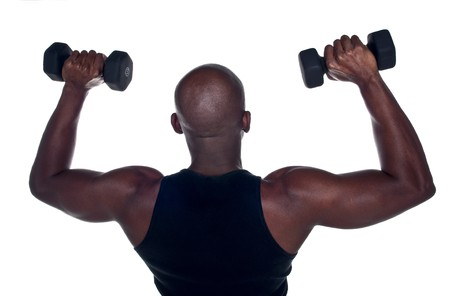Young Body Builder African American doing excersice.. photo