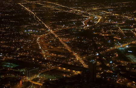 city lights: View of Chicago City From Sears Tower. The Sears Tower and Skydeck is National Landmark in the US.