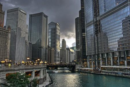 シカゴのシカゴ川のビュー。