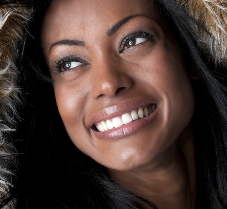 Portrait of young hispanic woman smiling very happy. Stock Photo - 4341439