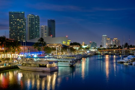 View of Miami Bayside Market and Marina. photo