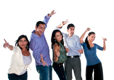 Group of multiracial friends very happy and cheerful. photo