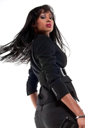 Young hispanic model in runway setting, isolated. Stock Photo