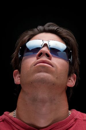 Portrait man looking up with trendy sunglasses. Stock Photo - 4542301