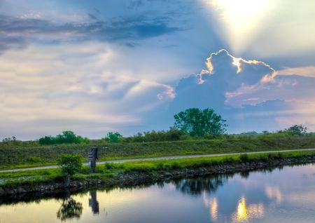Surise in het Everglades National Park vlakbij Miami Florida.