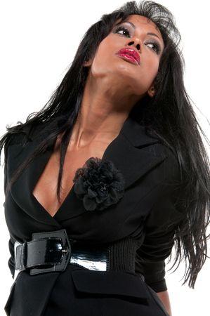 Young hispanic model in fashion show, sexy pose. photo