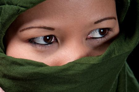 Close up of asiatic woman eyes wrapped in islamic scarf. Stock Photo - 4595794