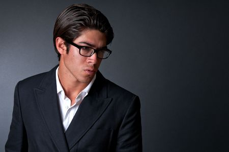 Young executive worried and pensive. Space for copy, photo