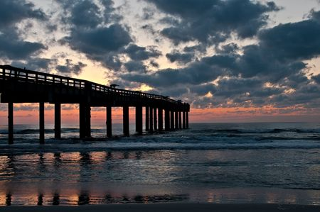augustine: Sunrise at St. Augustine fishing pier in Florida. Stock Photo