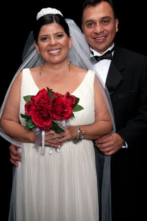 forty something: Forty something couple getting married very happy. Stock Photo