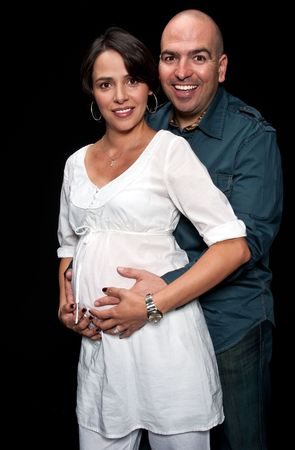 Happy father embrass his expecting wife very happy. Stock Photo - 4873920