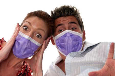 People with masks to protect from viruses and influenza or pollution. photo