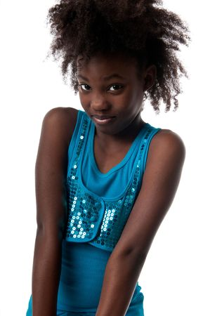 Young african american girl looking pensive and smiling. 写真素材