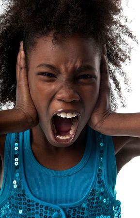 Little afro american girl screaming very loud and afraid. Standard-Bild