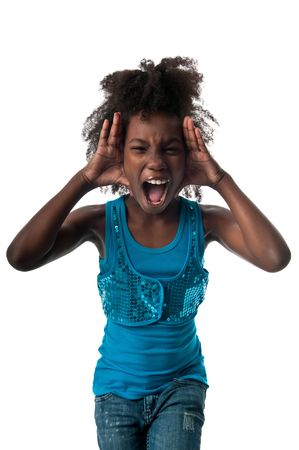 insane insanity: Little afro american girl screaming very loud and afraid. Stock Photo