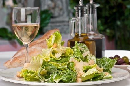 caesar salad: Traditional caesar salad with parmigiana crostoni. Stock Photo