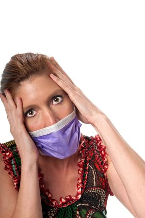 pandemic: Caucasian woman in his 40s protecting herself from pandemic virus.