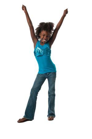 African American meisje erg blij vrolijk.