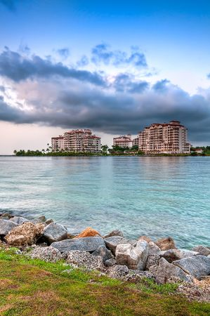 enclave: View of apartments in Fisher Island, a very exclusive enclave in Miami Beach. Lots of CopySpace.