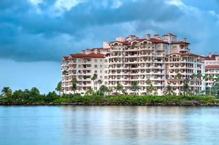 View of apartments in Fisher Island, a very exclusive enclave in Miami Beach. Stock Photo