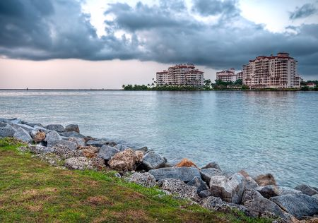 enclave: View of apartments in Fisher Island, a very exclusive enclave in Miami Beach. Stock Photo