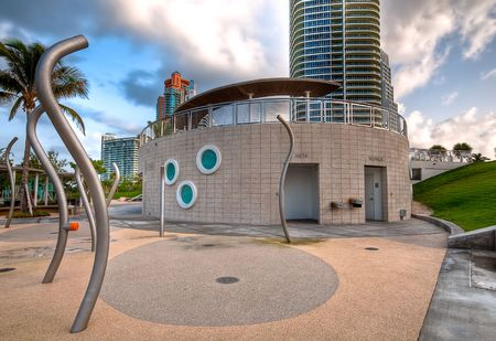 Modern restroom facilities at South Pointe Park in Miami Beach, Florida. photo