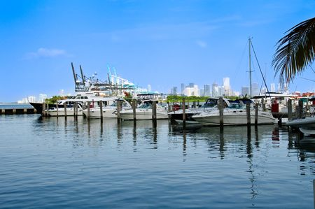View of marina near Miami, with seaport and city in the background.
