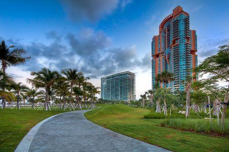 View of apartment condos in South Pointe Park, Miami Beach. photo