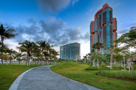 path to wealth: View of apartment condos in South Pointe Park, Miami Beach. Stock Photo