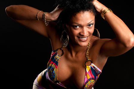 30 Something very sensual hispanic brunette woman posing. Stock Photo - 5284449
