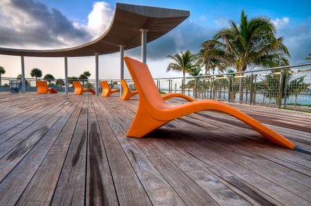 View of elevated deck in South Pointe Park, in Miami Beach, Florida. Stock Photo - 5299129