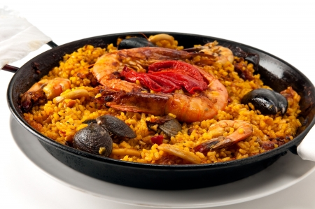 mussel: Tradition Seafood Spanish Paella in Pan, this is a typical spanish dish. Stock Photo