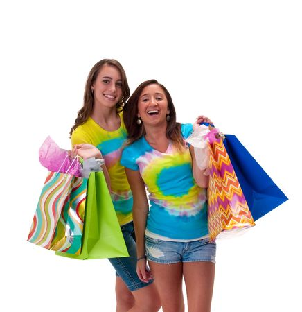 Young woman friends with shopping bags very happy. photo