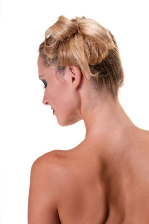 Young caucasian woman profile and back nude. photo