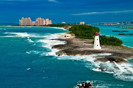 View of lighthouse in Nassau, Bahamas and tourist resorts in the city, Stock Photo - 5777798