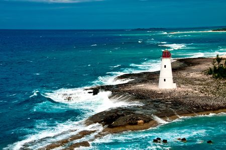 View of lighthouse in Nassau, Bahamas in the Caribbean sea. Stock Photo