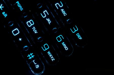 Close up view of a cell phone keypad backlit. Stock Photo - 6054665